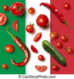 vegetables on the Italian tricolor background. Ingredients...