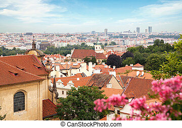 View over historic center of Prague with castle, Czech...