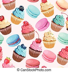 Sweets seamless pattern - Varicolored macarons and cupcakes...