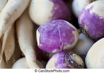 Background of turnips - Close up of fresh turnips on a...
