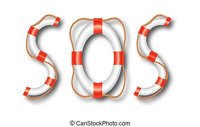 word SOS of lifeline - SOS word of life buoy, vector art...