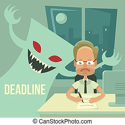 Deadline monster and office worker characters Vector flat...
