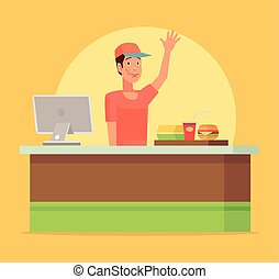 Fast food cafe. Happy cashier man character. Vector flat...