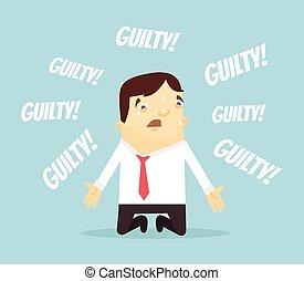 Guilty office worker man character. Vector flat cartoon...