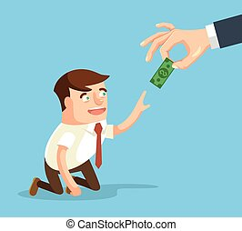 Boss giving small salary to worker. Vector flat cartoon...