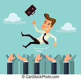 Throw hands happy businessman character in the air Vector...