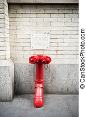 Standpipe connection for fire Department in New York, ready...