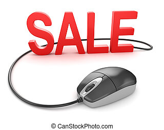 Computer mouse with sale text