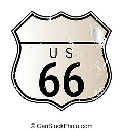 Blank Route 66 Sign - Blank Route 66 traffic sign over a...