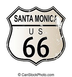 Santa Monica Route 66 traffic sign over a white background...