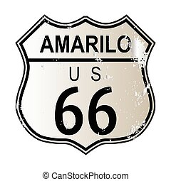 Amarillo Route 66 traffic sign over a white background and...