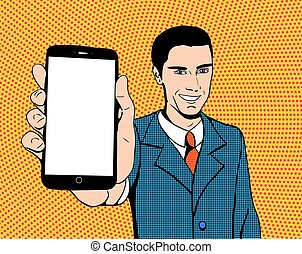 Pop art man with a phone - Pop art suited-up man with a...