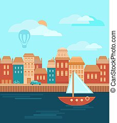 City by the Sea - Illustration of a city by the sea. Design...