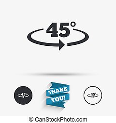Angle 45 degrees sign icon. Geometry math symbol. Flat...