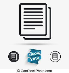 Copy file sign icon Duplicate document symbol Flat icons...