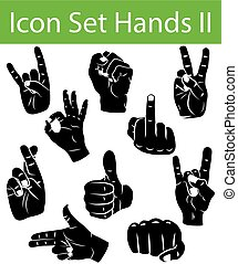 Icon Set Hands II with 10 icons for the creative use in...