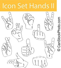 Drawn Doodle Lined Icon Set Hands II with 10 icons for the...