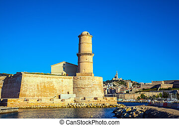 Most watchtower in Marseille - Fort St. John in Marseille....