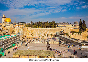 The Western Wall of the Temple after the prayer - The area...
