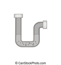 Water pipe icon, black monochrome style - Water pipe icon in...