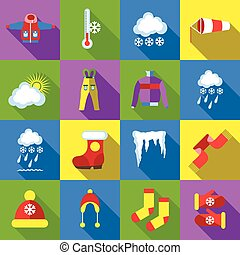 Winter icons set, cartoon style - icons set in flat style....