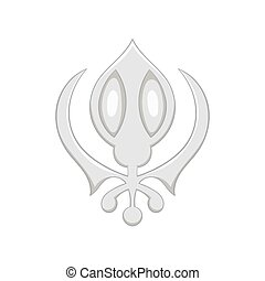 Sign sikhism icon, black monochrome style - Sign sikhism...