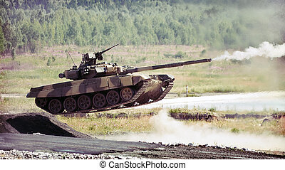 russian tank - shooting russian tank t-90s while jumping...