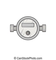 Water meter icon, black monochrome style - Water meter icon...