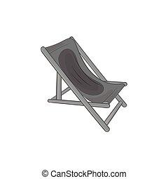 Beach chaise icon,black monochrome style - icon in black...