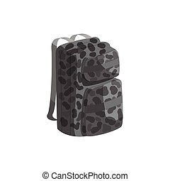 Backpack icon, black monochrome style - Backpack icon in...