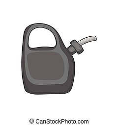 Plastic canister of gasoline icon in black monochrome style...