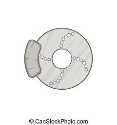 Disc brake car icon, black monochrome style - Disc brake car...