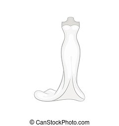 Wedding dress icon, black monochrome style