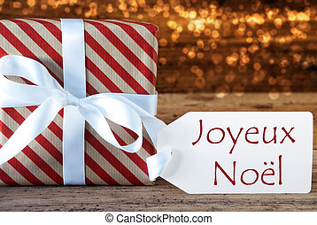 Atmospheric Gift With Label, Joyeux Noel Means Merry...