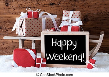 Sleigh With Gifts On Snow, Text Happy Weekend