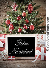 Nostalgic Tree With Feliz Navidad Means Merry Christmas -...