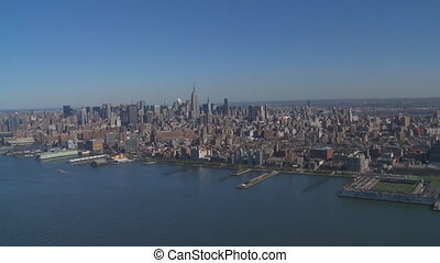 midtown manhattan from heli - aerial view of midtown...