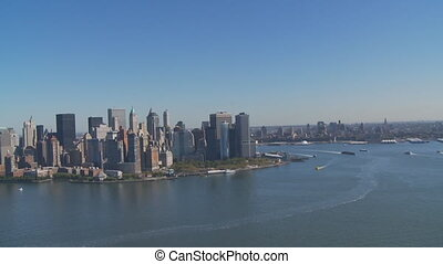 aerial view manhattan brooklyn - aerial view downtown...