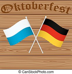 Flags of Germany and Bayern Munich on the background of...
