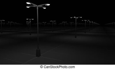Big empty parking area at night. Emptiness concept. 4K pan...