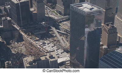 aerial view ground zero manhattan