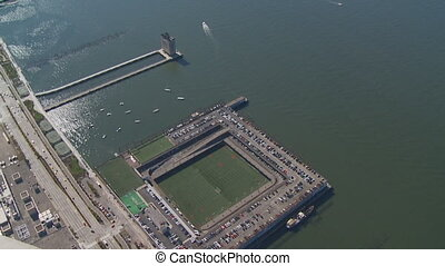 aerial view hudson and sports yard - aerial view hudson...