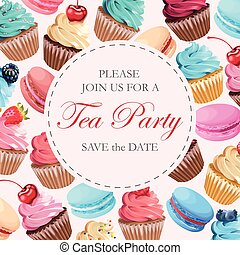 Tea party invitation - Vector invitation to tea party with...