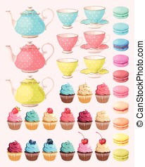 Tea party set - Big vector set of tea party elements