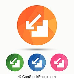 Downstairs icon. Down arrow sign. Triangular low poly button...