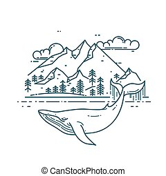 Huge Whale with mountains landscape.