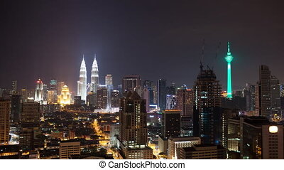 Timelapse of night Kuala Lumpur, Malaysia - Timelapse shot...