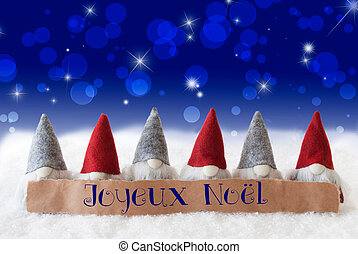Gnomes, Blue Bokeh, Stars, Joyeux Noel Means Merry Christmas...