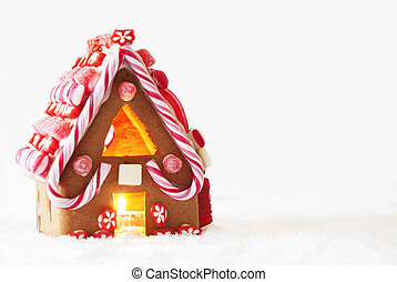 Gingerbread House, White Background, Copy Space -...