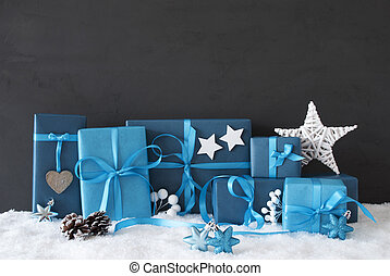 Blue Gifts With Christmas Decoration, Black Cement Wall,...